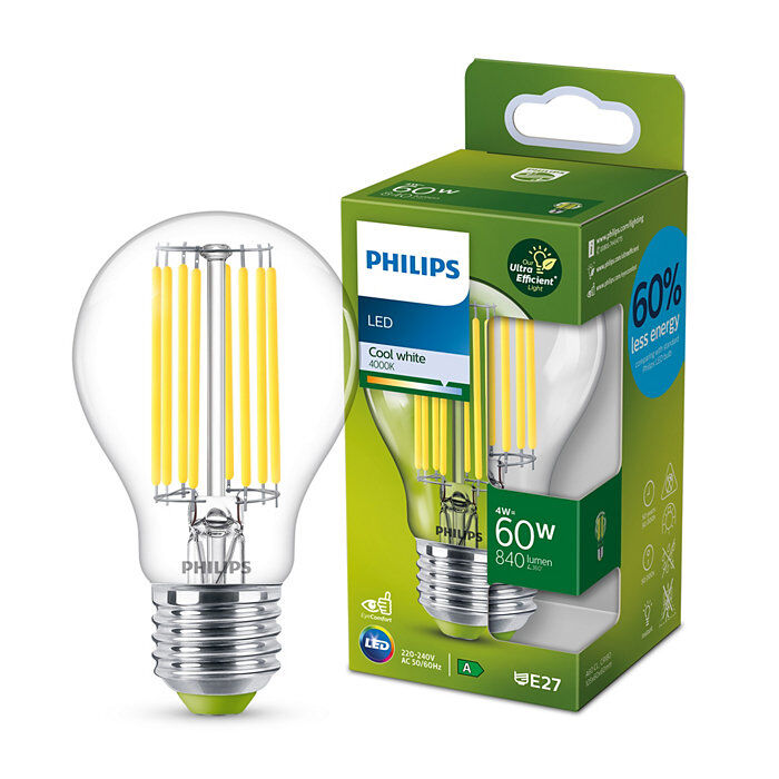 Philips Classic E27 A-energiaosztály, 60W, 4000K természetes fehér LED fényforrás