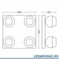 Philips Hue Buckram LED spotlámpa, változtatható színhőmérséklet 2200-6500K, fekete, 4x5.5W, 1000 lm, 50474/30/P7