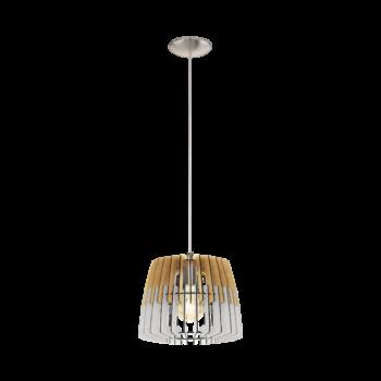 EGLO 32825 ARTANA Fa függesztett lámpa, 30cm, natúr fa/fehér, E27 foglalattal