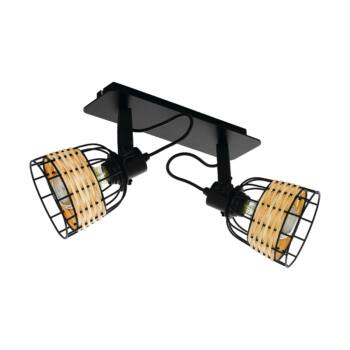 EGLO 43325 ANWICK 1 fali/mennyezeti lámpa, rattan fonatos burával, fa, E27 foglalattal, IP20