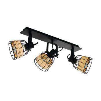 EGLO 43326 ANWICK 1 fali/mennyezeti lámpa, rattan fonatos burával, fa, E27 foglalattal, IP20