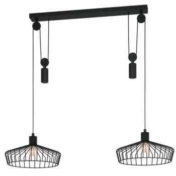 EGLO 43438 WINKWORTH több ágú függeszték, fekete, E27 foglalattal + ajándék LED fényforrás