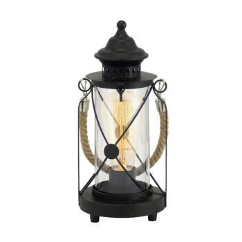 EGLO 49283 BRADFORD asztali lámpa, kapcsolóval, fekete, E27 foglalattal, IP20 + ajándék LED fényforrás