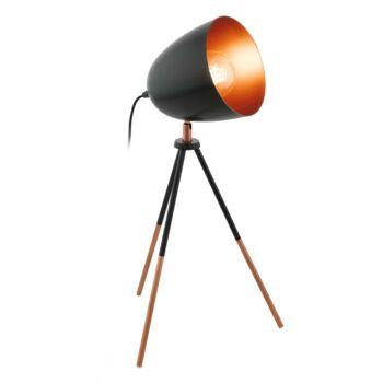 EGLO 49385 CHESTER asztali lámpa, kapcsolóval, fekete, E27 foglalattal, IP20 + ajándék LED fényforrás