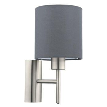 EGLO 94926 PASTERI fali lámpa, kapcsolóval, szürke, E27 foglalattal, IP20