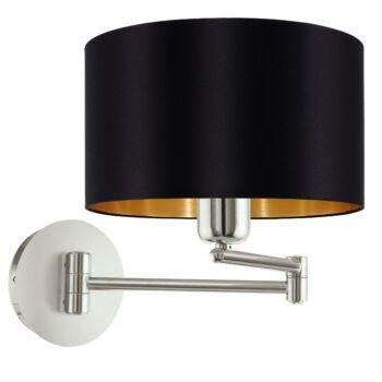 EGLO 95054 MASERLO fali lámpa, kapcsolóval, fekete, E27 foglalattal, IP20