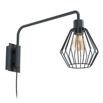 EGLO 99349 TABILLANO 1 fali lámpa, kapcsolóval, forgatható, fekete, E27 foglalattal, IP20 + ajándék LED fényforrás