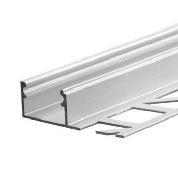 LED profil hidegburkolat, csempe dekorációhoz, záróprofil, ezüst eloxált alumínium, 2m