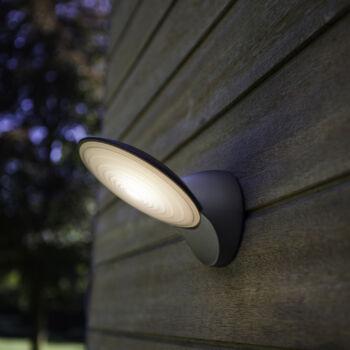 LUTEC Tona kültéri fali lámpa, 9W, 600 lm, 3000K melegfehér, IP44, szürke, LUTEC-5189601118
