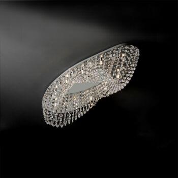 LUXERA ELIPTHON mennyezeti lámpa kristály hatás 10 foglalattal, króm, G9, 69047