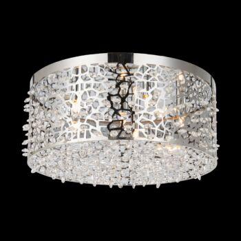 LUXERA VITRA mennyezeti lámpa kristály hatás 5 foglalattal, rozsdamentes acél (inox), G9, 64372