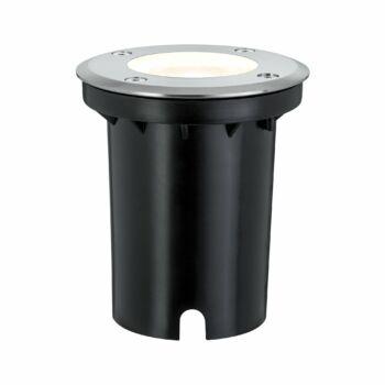 Paulmann 939.92 Floor kültéri beépíthető lámpa, 108 mmx108 mm, kerek, talajba süllyeszthető, szálcsiszolt, 3000K melegfehér, GU10 foglalat, 230 lm, IP67