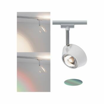 Paulmann 949.79 URail Sabik sínre szerelhető LED spotlámpa, beépített LED, 13W, 570 lm, 2700K melegfehér, dekoratív fényeffekttel, fényerőszabályozható
