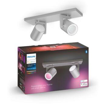 Philips Hue Argenta alumínium dupla mennyezeti LED spot, RGBW, GU10 fényforrással, 5062248P7, Bluetooth+Zigbee