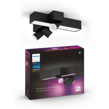 Philips Hue Centris mennyezeti lámpa, keresztben 3db. irányítható LED spotfejjel, White and Color Ambiance, RGBW, 25W beépített LED+3xGU10, 1050 lm, fekete, Bluetooth+Zigbee, 5060830P7