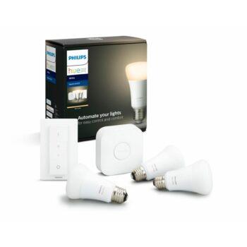 Philips Hue E27 White LED kezdőkészlet, 3db. fényforrás+Bridge+DimSwitch, 2700K, 9W, 806 lm, Bluetooth+Zigbee, 871869678523200