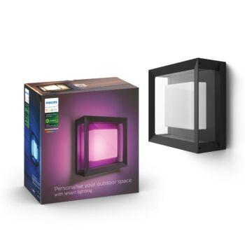 Philips Hue Econic kültéri fali LED lámpa, IP44, RGBW, 2000-6500K, 1150lm, 15W, fekete, White and Color Ambiance, 1743830P7