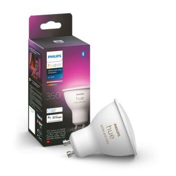 Philips Hue GU10 White and Color RGBW LED, fényforrás, 5.7W, 350 lm, Bluetooth+Zigbee, 8718699628659