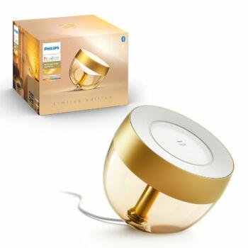 Philips Hue Iris White and Color Ambiance, RGBW asztali LED lámpa, 8W, 570 lm, arany, Bluetooth+Zigbee, 8719514264526