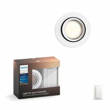 Philips Hue Milliskin süllyeszthető LED spotlámpa, kör, fehér, 5,5W, 250 lm, 4000K, 2200K-6500K + DimSwitch, 50411/31/P7