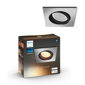 Philips Hue Milliskin süllyeszthető LED spotlámpa, négyzet, alumínium, 5,5W, 350 lm, White Ambiance, 2200K-6500K, Bluetooth+Zigbee, 5042148P9