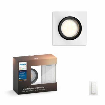Philips Hue Milliskin süllyeszthető LED spotlámpa, szögletes, alumínium, 5,5W, 250 lm, 4000K, 2200K-6500K + DimSwitch, 50421/48/P7