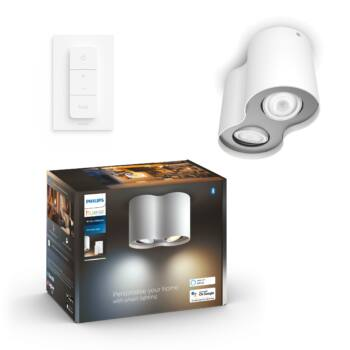 Philips Hue Pillar fehér mennyezeti LED lámpa 2xGU10 spot, White Ambiance, 2200K-6500K + DimSwitch, Bluetooth+Zigbee, 5633231P6