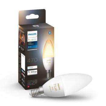 Philips Hue White Ambiance E14 LED gyertya fényforrás, 2200-6500K, 6W, 470lm, Bluetooth+Zigbee, 8718699726294