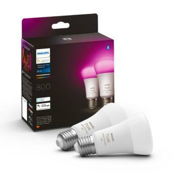 Philips Hue White and Color Ambiance E27 LED dupla csomag, RGBW, 9W, 806 lm, Bluetooth+Zigbee, 8718699673284