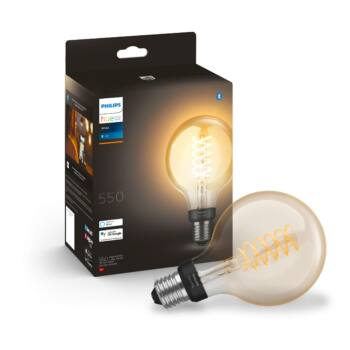 Philips Hue White G93 E27 LED filament vintage fényforrás, 2100K, 7W, 550 lm, Bluetooth+Zigbee, 8718699688882
