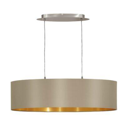 EGLO 31613 MASERLO Textil függesztett lámpa, 78cm, szürkésbarna, 2 db. E27 foglalattal + ajándék LED fényforrás