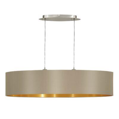 EGLO 31618 MASERLO Textil függesztett lámpa, 100cm, szürkésbarna, 2 db. E27 foglalattal + ajándék LED fényforrás