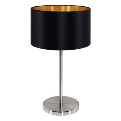 EGLO 31627 MASERLO Textil asztali lámpa, 23cm, fekete, E27 foglalattal + ajándék LED fényforrás