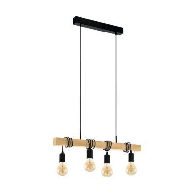 EGLO 32916 TOWNSHEND fekete, függesztett lámpa, 4 db. E27 foglalattal, 70x10,5cm, 110cm, 4x60W