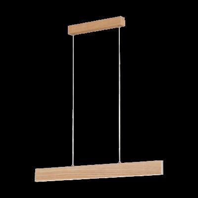 EGLO 39344 CLIMENE függesztett LED lámpa, 94cm, hosszú, fa beépített LED, 21,2W, 3000K melegfehér, 2500lm, fényerőszabályozható