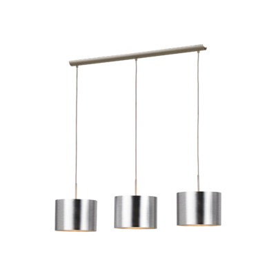 EGLO 39353 SAGANTO függesztett lámpa, 110cm magas, matt nikkel/ezüst, 3 db. E27 foglalattal, 3x60W + ajándék LED fényforrás