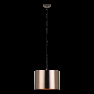EGLO 39393 SAGANTO 1 függesztett lámpa, 35cm átmérő, barna/réz, 1 db. E27 foglalattal, 1x60W + ajándék LED fényforrás