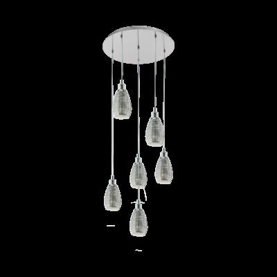 EGLO 39505 SIRACUSA függesztett lámpa, 50cm átmérő, króm, 6 db. E27 foglalattal, max. 6x60W + ajándék LED fényforrás