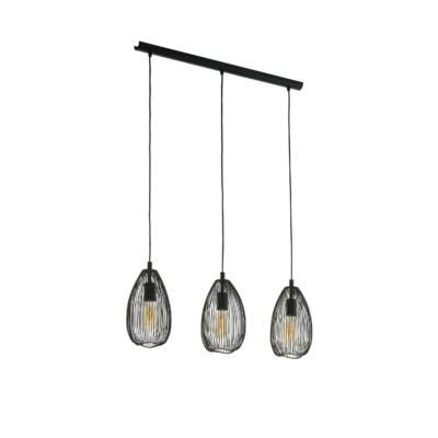 EGLO 49142 CLEVEDON fekete, függesztett lámpa, 3 db. E27 foglalattal, 78cm hosszú, max. 3x60W + ajándék LED fényforrás