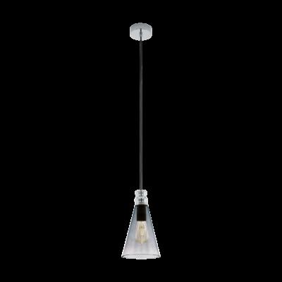 EGLO 49154 FRAMPTON 1 Vintage függesztett lámpa, 17,5cm átmérő, fekete, E27 foglalattal, max. 1x60W + ajándék LED fényforrás