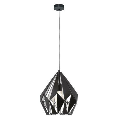 EGLO 49255 CARLTON 1 Vintage függesztett lámpa, 31cm, fekete/ezüst, E27 foglalattal + ajándék LED fényforrás