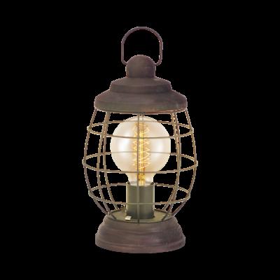 EGLO 49288 BAMPTON Vintage asztali lámpa, 17,5x32cm, barna-patina, E27 foglalattal + ajándék LED fényforrás