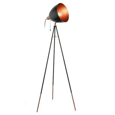 EGLO 49386 CHESTER Vintage acél állólámpa, 135cm, fekete/réz, E27 foglalattal + ajándék LED fényforrás