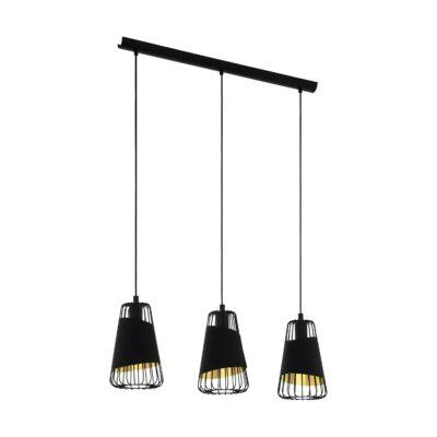 EGLO 49448 AUSTELL fekete, függesztett lámpa, 3 db. E27 foglalattal, 76,5cm hosszú, max. 3x60W + ajándék LED fényforrás