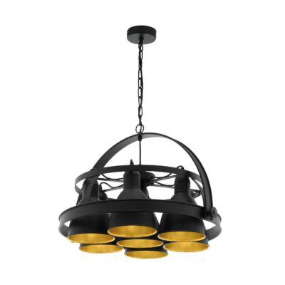EGLO 49682 BACKBARROW Függesztett lámpa, 7 db E27 foglalattal, 60cm átmérő, fekete/arany, max. 7x60W + ajándék LED fényforrás