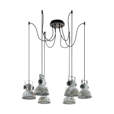 EGLO 49732 BARNSTAPLE Függesztett lámpa, 6 db. E27 foglalattal, 17,5cm bura átmérő, cink/fekete, max. 6x40W + ajándék LED fényforrás