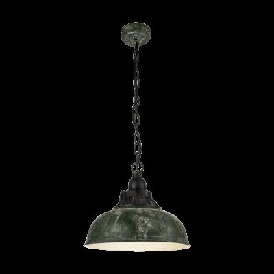 EGLO 49735 GRANTHAM 1 Vintage függesztett lámpa, 37cm, antik zöld, E27 foglalattal + ajándék Access távirányítós(11807) LED fényforrás