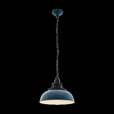 EGLO 49753 GRANTHAM 1 Vintage függesztett lámpa, 41,5cm, antik kék, E27 foglalattal + ajándék Access távirányítós(11807) LED fényforrás
