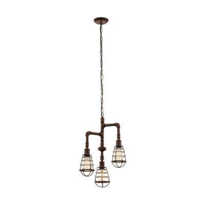 EGLO 49808 PORT SETON Vintage hármas függesztett lámpa, 36cm, antik barna, 3 db. E27 foglalattal + ajándék LED fényforrás