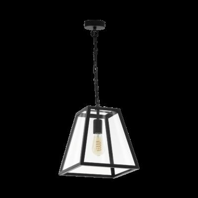 EGLO 49882 AMESBURY 1 fekete, függeszték, E27 foglalattal, 30cm széles, 1x60W + ajándék LED fényforrás